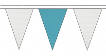 WHITE AND SKY BLUE TRIANGULAR BUNTING - 10m / 20m / 50m LENGTHS